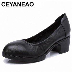 CEYANEAO 2019 Genuine leather women high heels pumps female OL COMFORTABLE black work shoes 34-41E1927 n6y3#