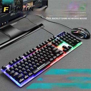 Клавиатура Mouse Combos Fuyun LED с подсветкой для PC Gaming Combo USB Wired Luminous Keybord Gamer Kit Водонепроницаемый мультимедиа U175