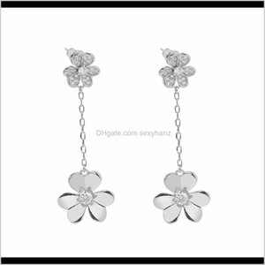 & Chandelier Drop Delivery 2021 Van 18K Gold Sier Fashion Four-Leaf Clover Three Leaf Dangle Clover Flower Long Cleef Earrings With Diamonds