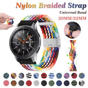 20/22mm Riemen Elastische Kraft Stretchschnalle Geflochtene Uhrband Nylon Schnur Strap für Samsung Galaxy Active 2 Huawei Uhrenband Garmin Moto Ticwatch