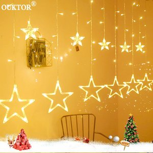 문자열 2.5M 스타 LED 커튼 요정 문자열 라이트 휴일 화환 웨딩 조명 크리스마스 홈 파티 정원 장식 실내 EU