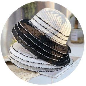 Hepburn Style Women Straw Hat Multi Layer Lace Edges Cap Vacation Beach Sun Protection Caps Vintage Travel Wide Brim Hats