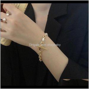 Bracelets de chaîne Bijoux Drop Livraison 2021 Vintage Bohemian Imitation Perle Bracelet pour femme Déclaration Bande de poignet de mode OT Easy Boucle BA