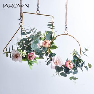 Decorative Flowers & Wreaths JAROWN Nordic Style Creative Wall Hangings Ins Wrought Iron Garland Rope Hanging Artificial Flower Wedding