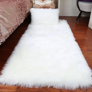 Plush Soft European Bedroom Carpet Imitation Wool Pad Long Hair Bedside Bay Window Cushion Sofa Cushion White Red Window Carpet
