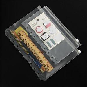 A5 / A6 / A7 PVC 바인더 커버 클리어 지퍼 저장 가방 6 홀 방수 편지지 가방 사무실 여행 휴대용 문서 자루