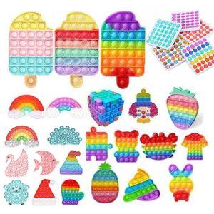 Rainbow Push Fidget Toy Sensory Push Bubble Fidget Sensory Autism Special Needs Anxiety Stress Reliever for Office Fluorescen Stock