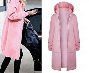 Hoodies & Women's Sweatshirts solid color sweater et with cashmere insert bag and hood zipper
