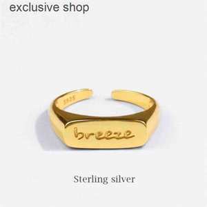 Season Gate Sterling Silver Personality Simple ins Tendy Letter breeze Adjustable Size Open Ring SR117