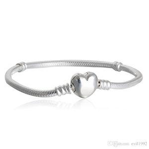1pcs Drop Shipping Factory Silver Plated Heart Bracelets Snake Chain Fit for pandora Bangle Bracelet Women Children Gift B002