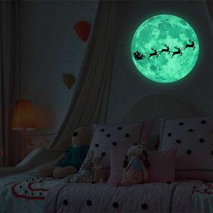 Claus Santa Decals Art Cute Deer Festival Luminous Moon 3d Sticker Room Decoration Glow in the Dark Wall Stickers New Bl7m