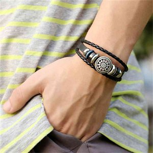 Jewelry Men Women Ethnic Faux Leather Infinity Cuff Buckle Bangle Charm Wrap Bracelet