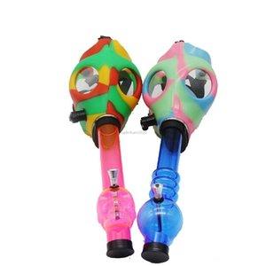 Maschera antigas Bong Entrambi Glow nell'acqua scura Shisha Acrilico Pipe di fumo Pipe Sillicone Mask Narghilè Tubi TABACCO all'ingrosso FY2374