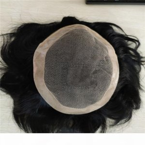 Afro Wave Hairpiece Replacement System Natural Human Hair Men's Wig Toupee Real Remy Hair System For Men Toupee Mono