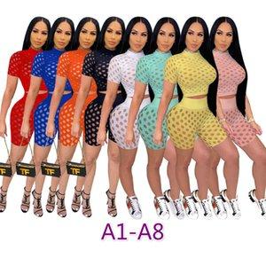 여성 두 조각 바지 디자이너 옷 중공 관점 섹시한 여름 캐주얼 트랙스 메쉬 2 조각 짧은 세트 숙녀 짧은 소매 복장