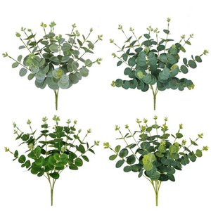 Artificial Fake Plants Money Eucalyptus Bouquet For Home Decor Flower Arrangement Green Faux Plant Bunch Desk Decorative Flowers & Wreaths