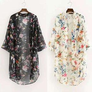 패션 - 여성 새로운 꽃 인쇄 쉬폰 셔츠 캐주얼 블라우스 빈티지 기모노 카디건 플러스 사이즈 긴 셔츠