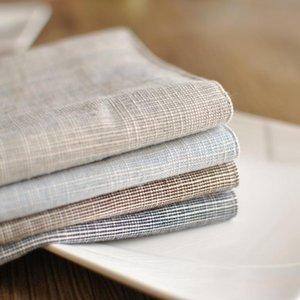 5Pcs Japanese Cotton Linen Placemat Plain Striped Tablecloth Home Cloth Dinner Napkins Table Decoration Tea Towel Kitchen Items Napkin