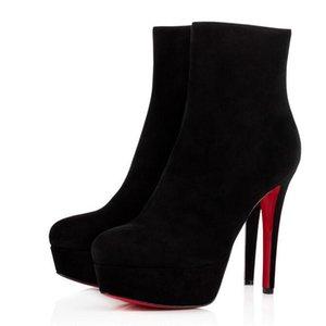 Zarif Bayanlar Shoess Lüks Bayan Kırmızı Alt Boot Ayak Bileği Ayakkabı Biancabooty Moda Kadınlar Süet Deri Seksi Çizmeler Topuklu Yüksek