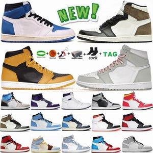 1s Light Smoke Grey UNC Мужские баскетбольные кроссовки Jumpman 1 High  Racer Blue Mushroom Спортивные кроссовки Размер Chaussures 36-47