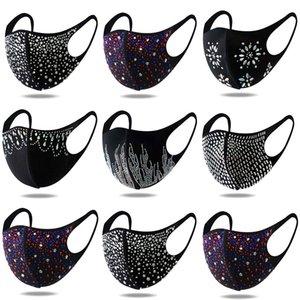 Strass Gesichtsmaske Designer schwarz blingbling pailletten baumwollmasken für frauen männer erwachsene staubdichte staubdichte anti taze facemask auf Lager