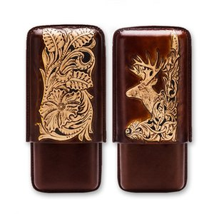 Real Leather Portable Travel Cigar Case Travel Tobacco 3 Tube Humidor Holder Box Deer Embossment Flower Craft