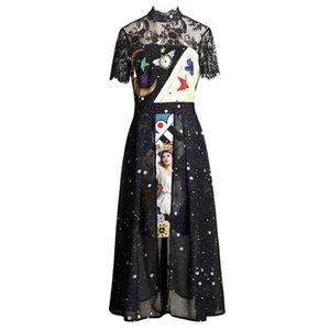 Black Chiffon Lace Patchwork Print Stand Collar Zipper Short Sleeve Empire Midi Long Dress Elegant Summer D1623 Casual Dresses