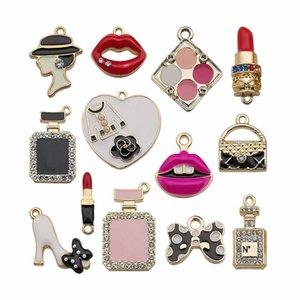 Tropfen Öl DIY Zubehör Anhänger Mode Serie Diamanteinsatz Rot Pulverkuchen Ohrringe Halskette
