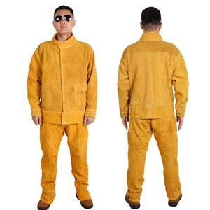 Cow Two-Layer Leather Welding Clothing Durable Soft Work Clothes Heat Insulation Wear-Resistant Safety Protective Welder Uniform