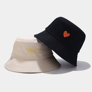 Ins new student love front and back embroidered basin cap little fresh fisherman's cap female summer versatile sun hat