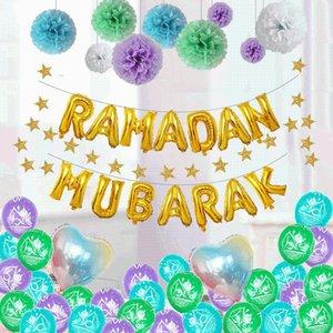 Ramadan Decoration Golden Black Banner Balloon Disposable Dinnerware Set Paper Plate EID Mubarak Party Decoration Muslim Favor