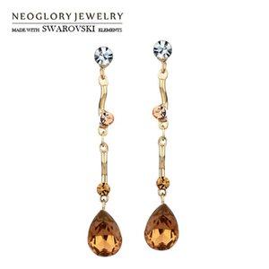 Neoglory Austria Crystal & Rhinestone Long Drop Earrings Water Style Jewelry Romantic Trendy Lady Holiday Gift Dangle Chandelier