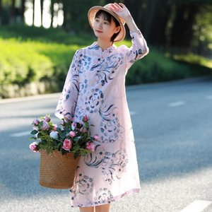 Vintage Chinese Traditional Design Pink Flowers Print Pure Ramie Linen Dress, Elegant Ladies Summer Thin Improved Cheongsam Robe Casual Dres
