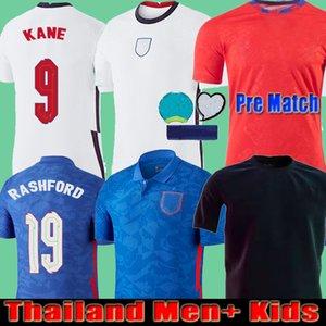 태국 남자 + 아이들 2021 angleterre 축구 유니폼 Pre match 세 번째 검은 색 개념 홈 Dele Rashford Sancho Sterling Kane 축구 셔츠 훈련 레드 20 21
