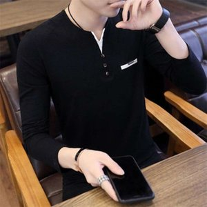 T-Shirts Men's long sleeve trend Korean V-neck slim fashion brand autumn dress T-shirt with t-blood in the body ONTC