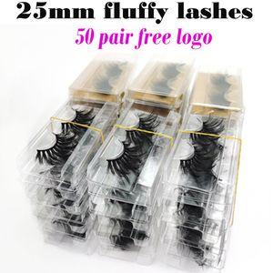 Wholesale Mink Eyelashes 25mm Lashes Fluffy Messy 3D False Eyelashes Dramatic Long Natural Lashes Wholesale Makeup Mink Lashes