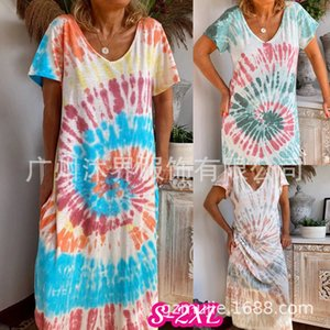 Dresses Women's 2021 Spring and Summer New Skirt Printing Suspender Loose Casual Tie Dyed