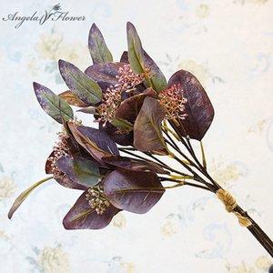اليدوية 5 الفروع الفاكهة البيضاوي الاصطناعي الأوكالبتوس يترك حفنة من المال يترك ديكور المنزل الحلي المزيفة الزهور الخضراء النباتات