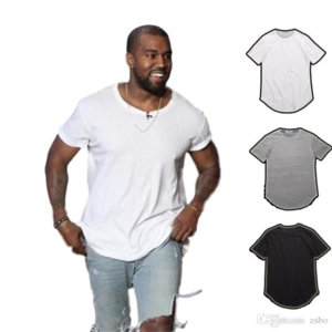QNPQYX men's T Shirt Kanye West Extended T-Shirt Men's clothing Curved Hem Long line Tops Tees Hip Hop Urban Blank Justin Bieber Shirts