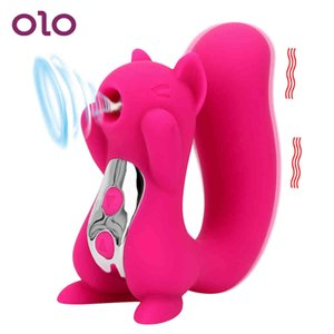Olo Nipple Sucker Langue Vibrateur Clitoris Stimulateur Stimulateur Squirrel Sculpture Vibration Sucer Dildo Vibrateur Sexe jouet pour femme Y200226