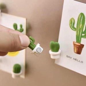 Fridge Magnets Frigo 6pcs Cute Mini Succulent Plants Vase Set Button Nature Creative Decoration Cactus Refrigerator Stickers