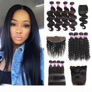 8a Brazilian Virgin Hair Weaves Straight Human Hair Bundles With Frontal Deep Wave Wefts With Closures Water Wave bulk Remy Hair Extensions