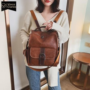 Backpack Style Luxury Women 2021 Vintage Travel PU Leather Large Capacity Bookbag High Quality School Bags For Teenage Girls