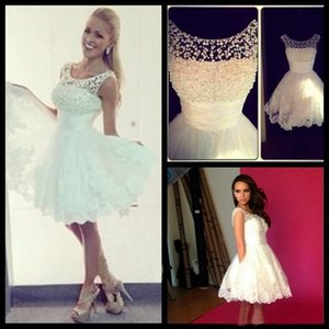 In Stock Little White Cocktail Party Dresses Sheer Neck Pearls Lace Appliques Short Prom formal Gowns Beach Summer 2021 Cheap