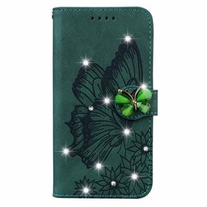 Bing Diamond 3D Butterfly Leather Wallet Cases For Iphone 12 Pro Max Mini 11 XR XS 8 7 6 Plus Luxury Imprint Flower Vintage Animal Holder Card Slot Flip Cover Girl Purse
