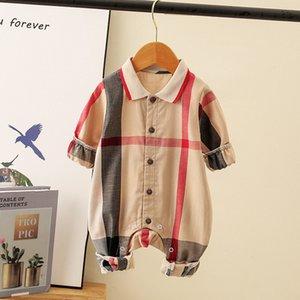 Designer Infant plaid romper summer toddler boys girls lapel short sleeve jumpsuits newborn kids cotton Onesie climb clothing B122