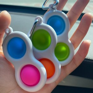Push Bubble Keychain Kids Novel Fidget keychains Simple Dimple Toy Pop It Toys Key Holder Rings Bag Pendants decompression toy gifts H2106