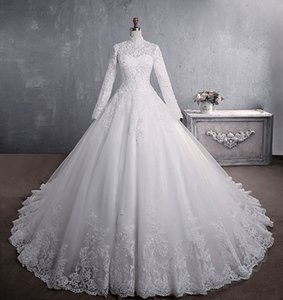 2021 new European and American Style Lace Wedding Dress Bridal stand collar long sleeve big size private customization DHW080