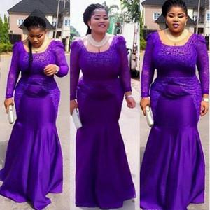Mermaid Evening Dresses Satin Purple 2021 Custom Long Sleeve Lace Formal Prom Gowns