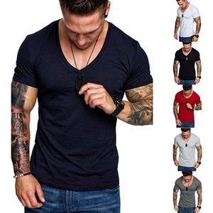 Camiseta Productos de verano Moda de color sólido Camiseta de deportes de ocio de los hombres grandes